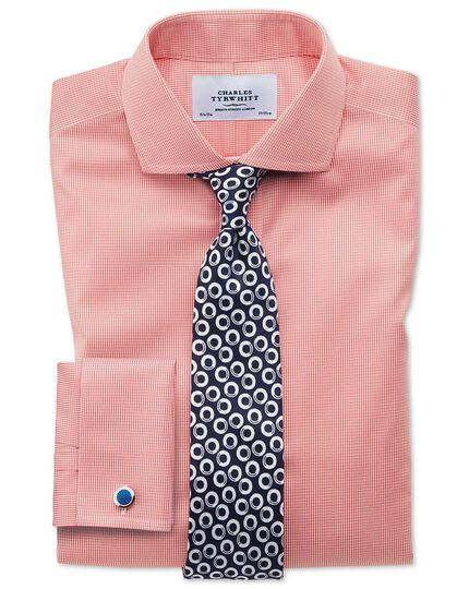 Slim fit cutaway non-iron puppytooth coral shirt
