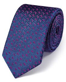 Navy and pink silk luxury English triangle slim tie