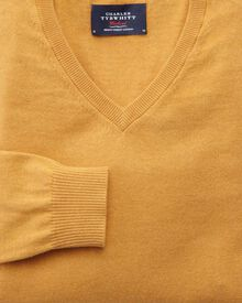 Yellow cotton cashmere v-neck jumper