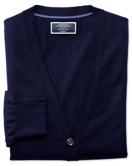 Navy merino wool cardigan