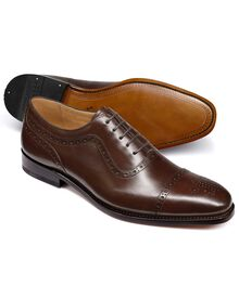 Brown Parker calf leather toe cap brogue Oxford shoes