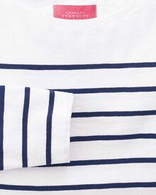 Women's white and navy breton stripe boat neck cotton jersey top
