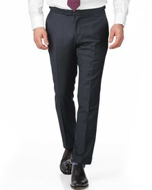 Blue slim fit British serge puppytooth luxury suit trousers