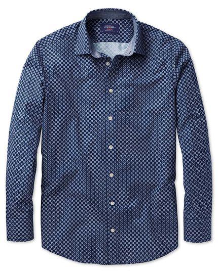 Extra Slim Fit Hemd in Blau und Weiß mit geometrischem Print