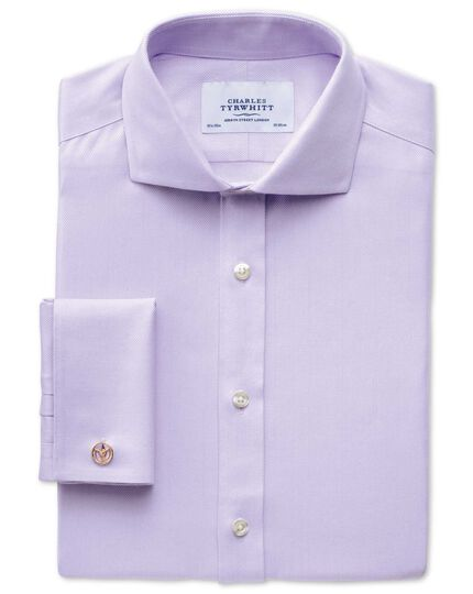 Extra slim fit cutaway collar non-iron herringbone lilac shirt