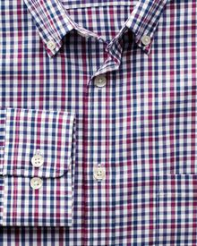 Slim fit non-iron multi check pink and blue shirt