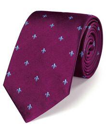 Burgundy silk classic Fleur-de-Lys tie