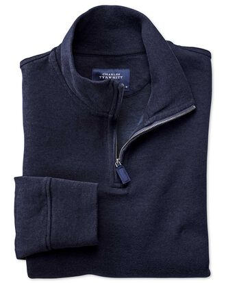 Navy half zip jersey jumper
