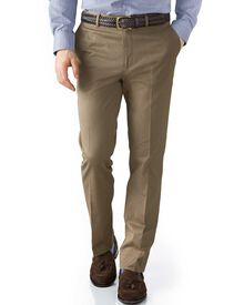 Tan extra slim fit stretch cavalry twill pants