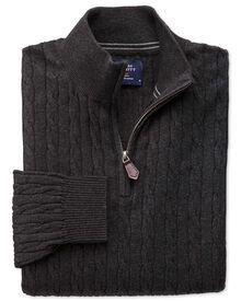 Baumwolle / Kaschmir Pullover mit Reißverschluss-Kragen in Anthrazit mit Zopfmuster