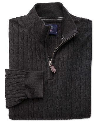 Charcoal cotton cashmere cable zip neck jumper