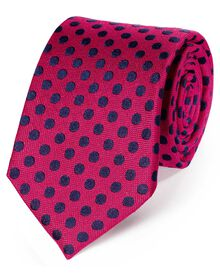 Pink and navy classic large spot tie