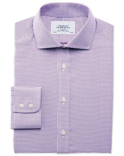 Classic fit spread collar star weave purple shirt