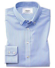 Bügelfreies Extra Slim Fit Hemd mit Button-down Kragen in Himmelblau mit Streifen und Karos