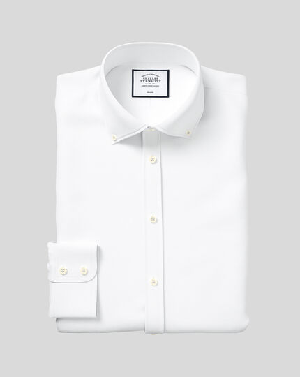 Slim fit button down collar non-iron twill white shirt
