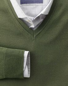 Olive merino wool v-neck jumper