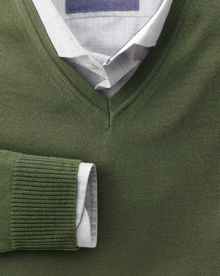 Olive merino wool v-neck sweater