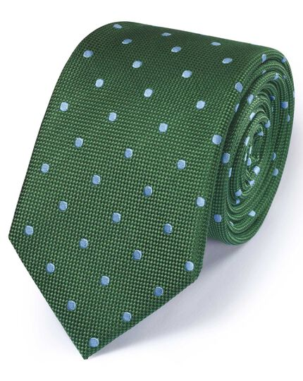 Green and sky silk classic spot tie