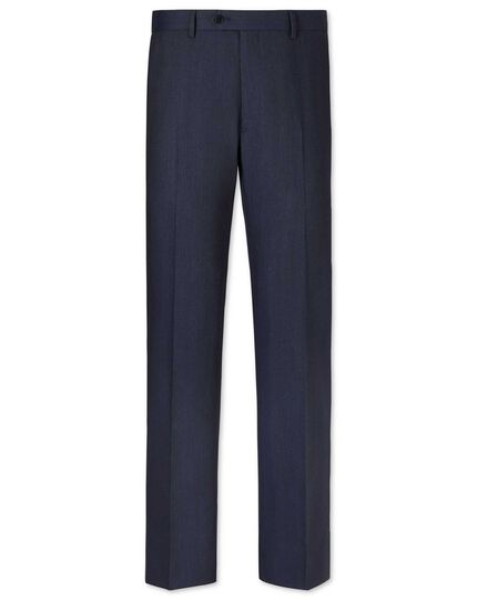 Airforce blue classic fit herringbone business suit pants