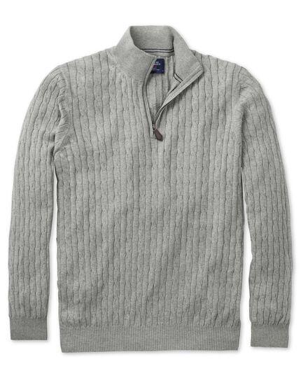 Light grey cotton cashmere cable zip neck jumper
