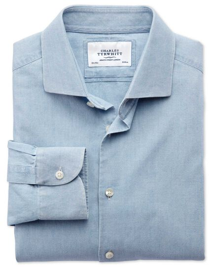 Classic fit semi-spread collar business casual chambray denim blue shirt