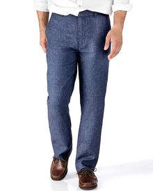 Indigo slim fit cotton linen trousers