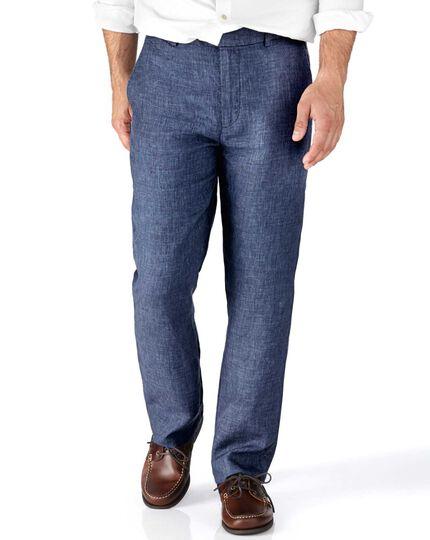 Indigo slim fit cotton linen pants
