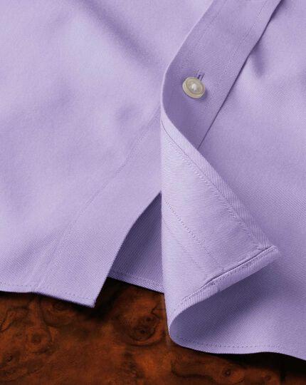 Slim fit spread collar non-iron twill lilac shirt