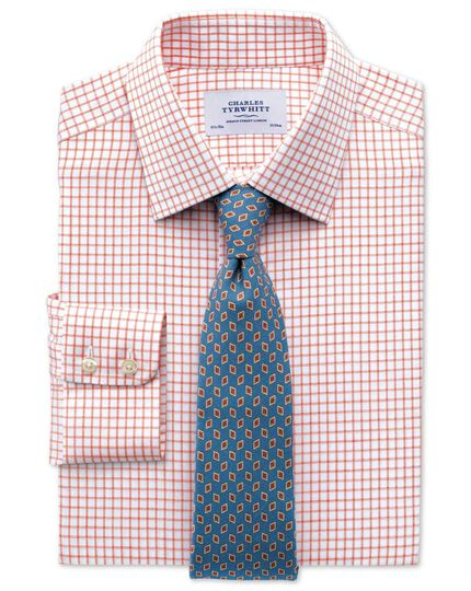 Classic fit non-iron windowpane check orange shirt