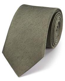 Khaki classic herringbone plain tie
