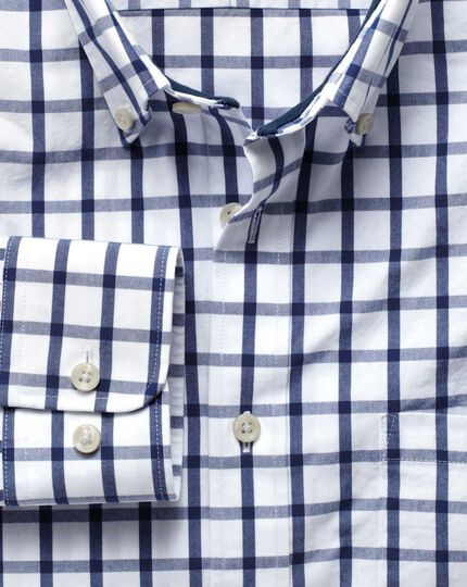 Slim fit blue check washed shirt