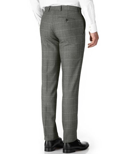 Grey check slim fit twill business suit trouser