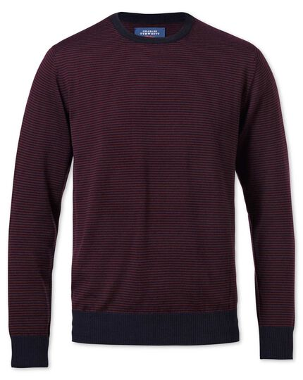 Red and navy stripe merino crew neck jumper