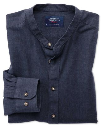 Classic fit collarless navy blue shirt