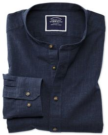 Slim fit collarless navy blue shirt