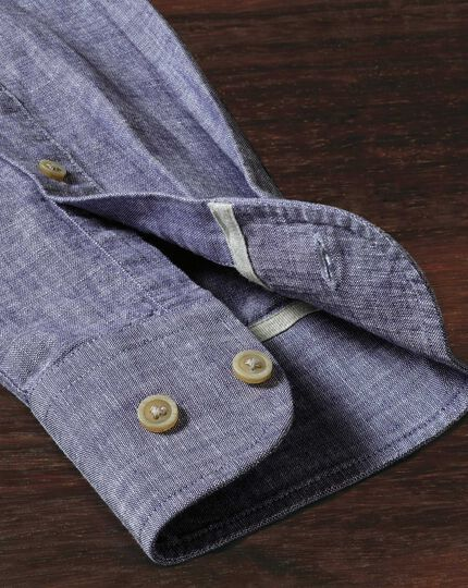 Extra Slim Fit Hemd aus Chambray in MarineBlau strukturiert