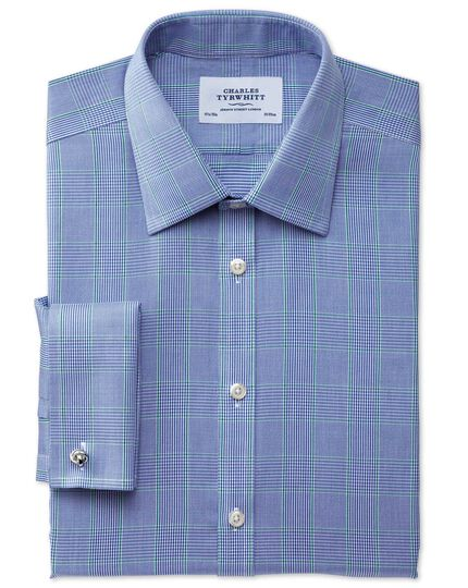 Slim fit non-iron Prince of Wales blue and green shirt