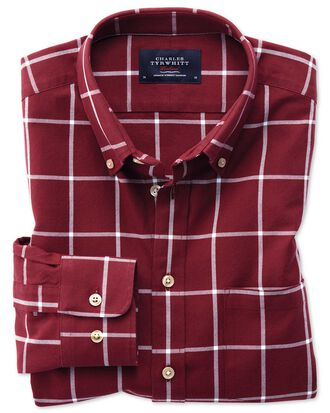 Classic fit button-down washed Oxford burgundy and white check shirt