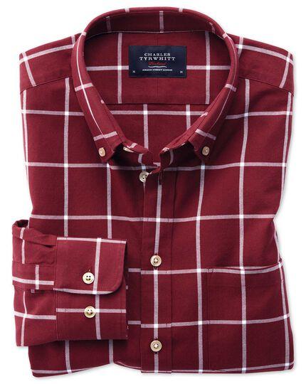 Classic Fit Oxfordhemd in burgunderrot und weiß mit Karos