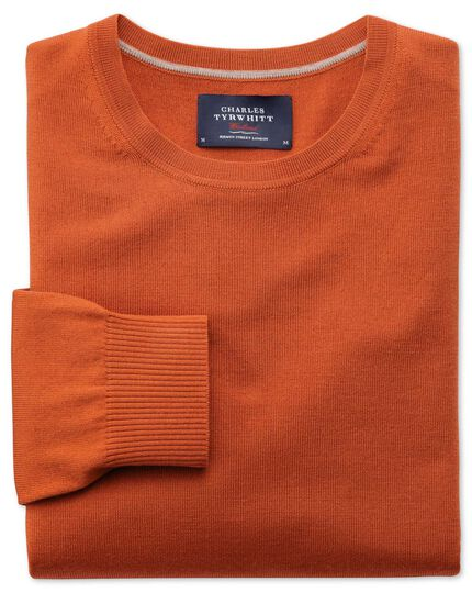 Orange merino crew neck sweater