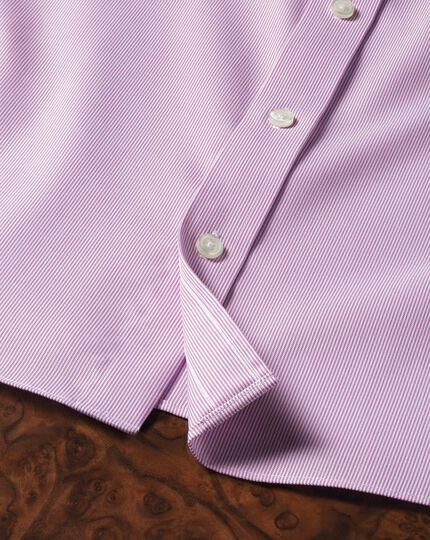 Classic fit non iron short sleeve pinpoint stripe pink shirt