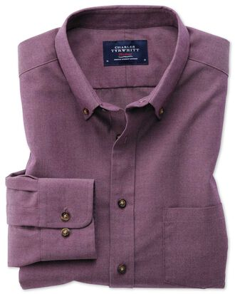Classic fit button-down non-iron twill purple shirt