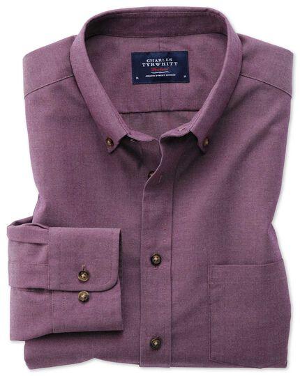 Classic fit button-down non-iron twill purple shirt
