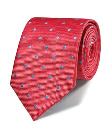 Coral and sky silk classic spot tie