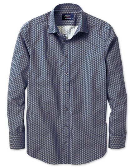 Slim fit blue and green hexagon print shirt