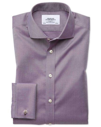 Slim fit cutaway non-iron twill dark purple shirt
