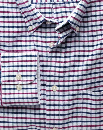 Classic fit navy and berry tattersall washed Oxford shirt