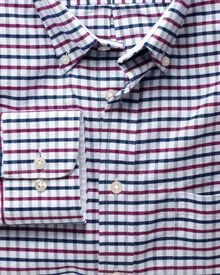Slim fit navy and berry tattersall washed Oxford shirt