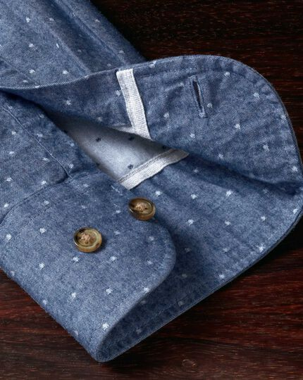 Extra Slim Fit Hemd aus Dobby in Mittelblau mit Tupfen