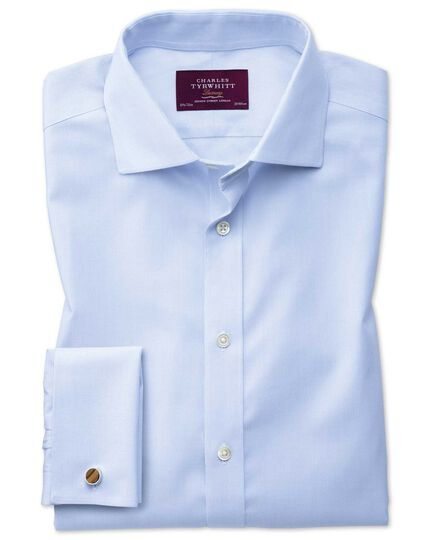 Extra slim fit semi-spread collar luxury stripe sky blue shirt